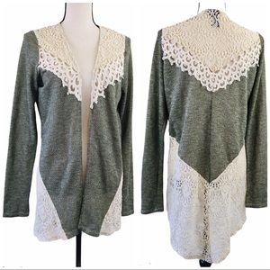 Rue21 Green Cream Lace Long Sleeve Open Cardigan